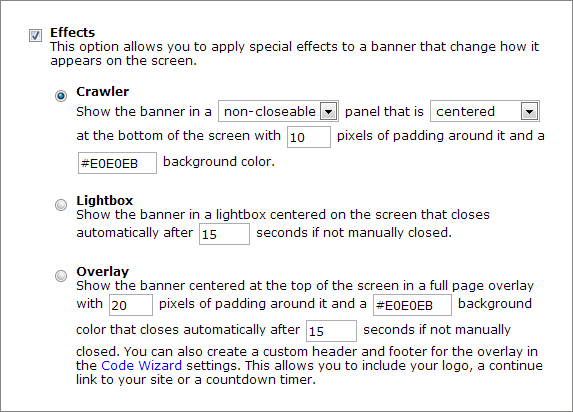 Code Wizard Crawler Effect Options