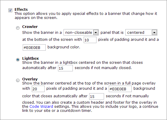 Code Wizard Lightbox Effect Options