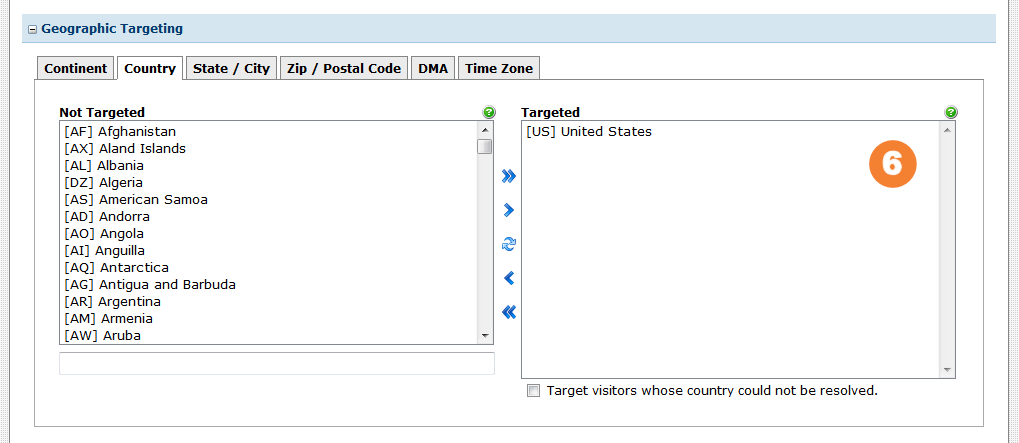 Select the United States as a country target