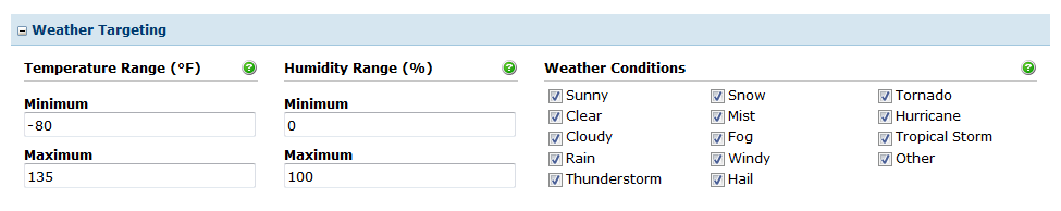 Weather Targeting Options